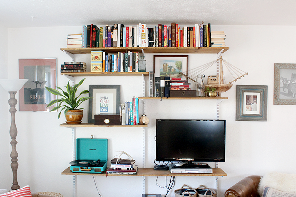 open shelving units living room. DIY Mounted Open Shelving Unit Living Room