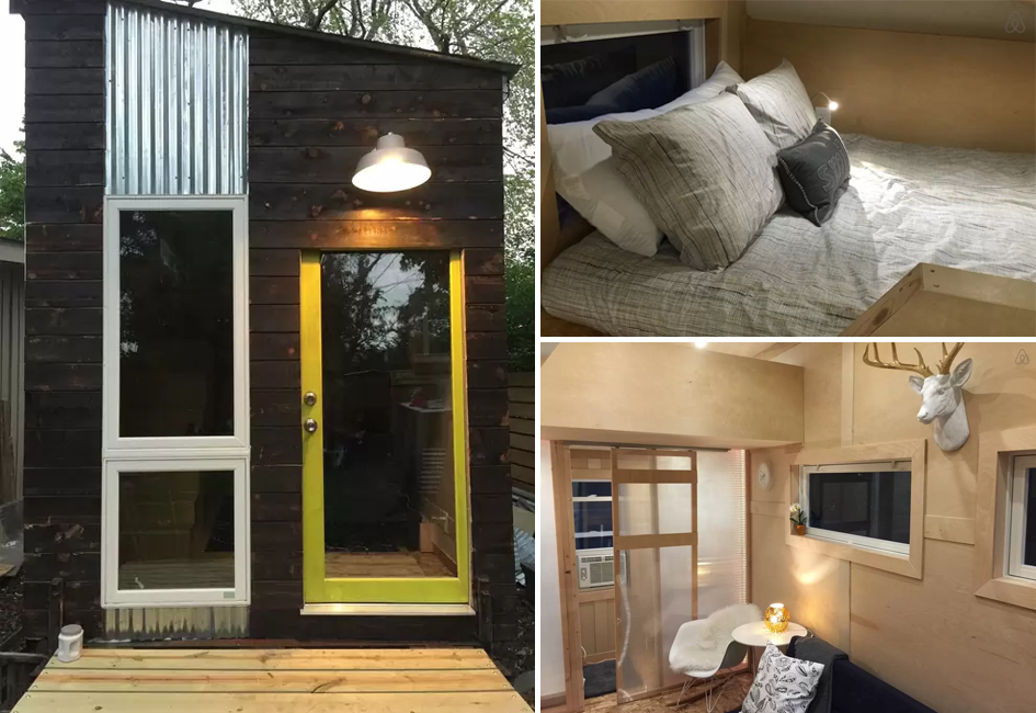 although it lacks square footage the tiny house three guests and includes two beds u2014 one a queen sized loft bed accessible by stairs and the