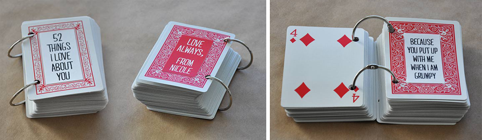 DIY 52 Things I Love About You Deck of Cards